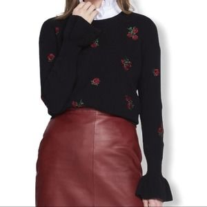 Sandro black wool sweater embroidered roses L